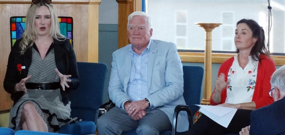 Answering questions at a Queenstown Grey Power meeting yesterday are Queenstown Lakes District...