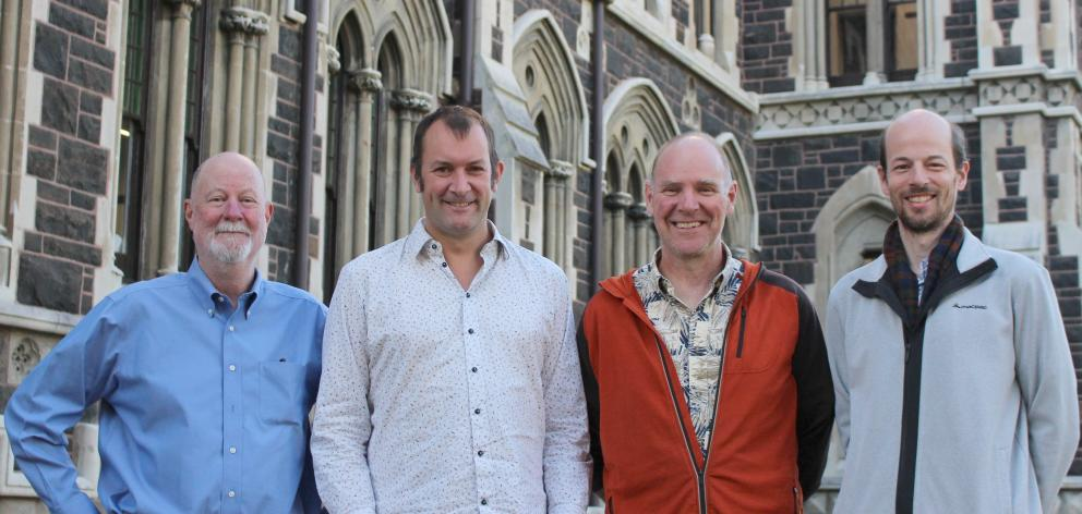 University of Otago geothermal drilling project group (from left),  Dr Mike Palin, Dr Christian...