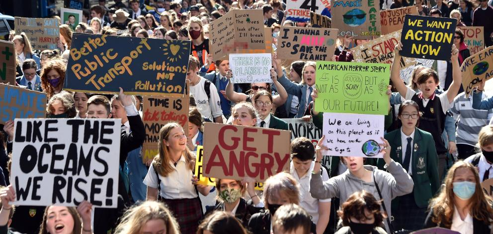 Hundreds of protesters young and old took to Dunedin's central city streets yesterday afternoon ...