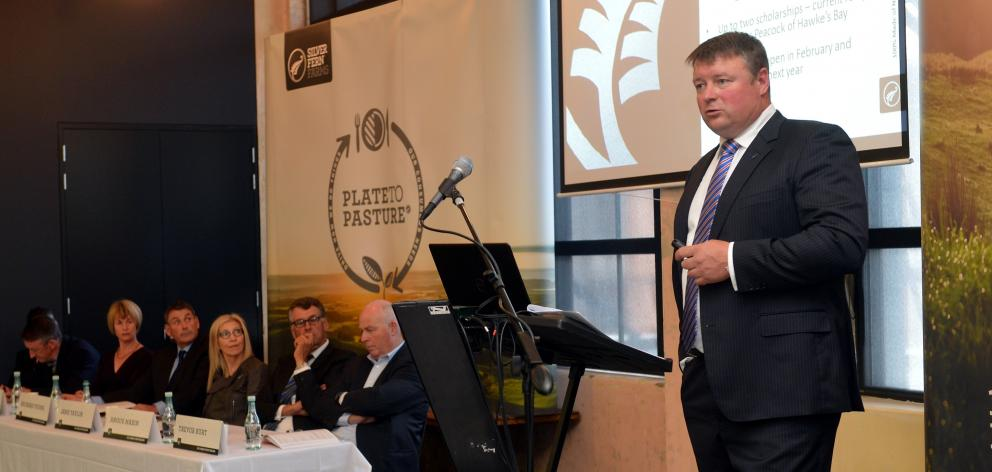Fiona Hancox (second from left) attends her first Silver Fern Farms annual meeting in 2015. ...