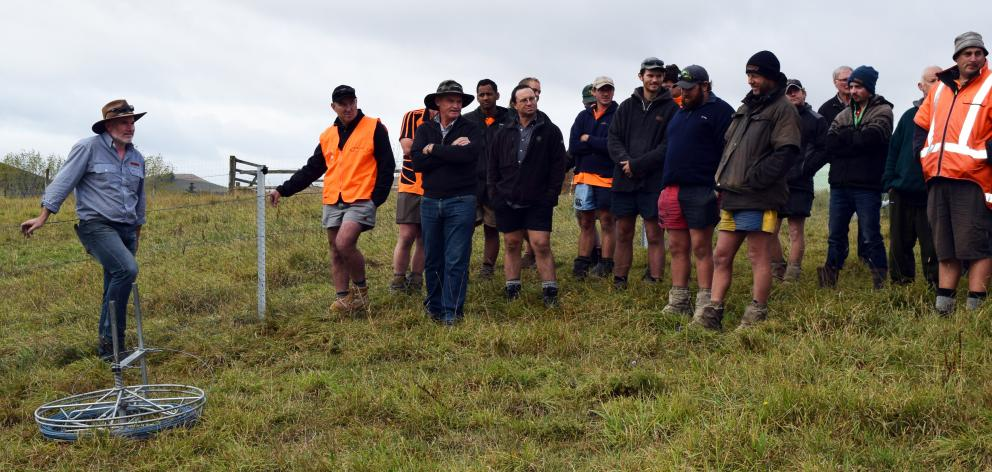Waratah Fencing New Zealand regional manager Brendon Crequer (left) listens to a question at a...