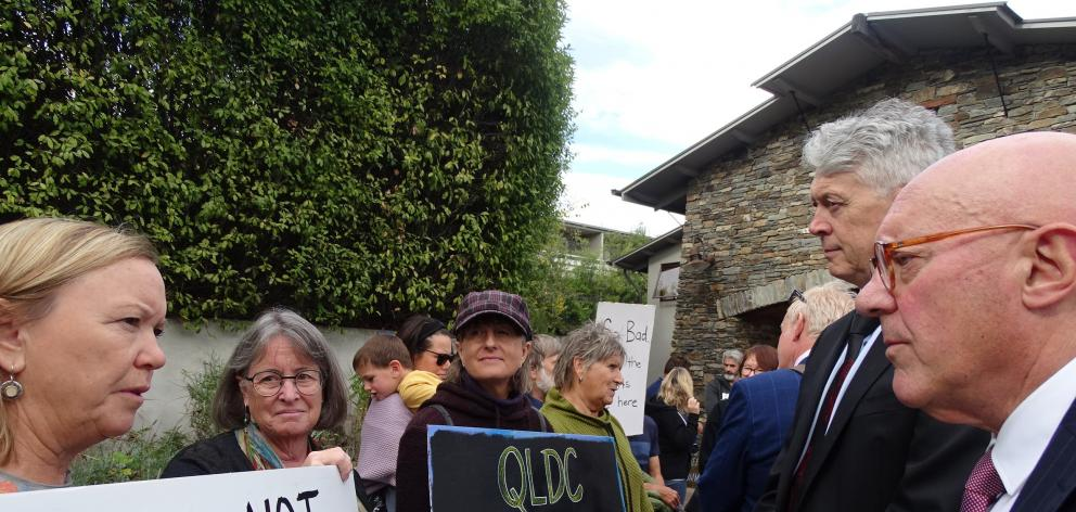 Participants at a rally outside the Lake Wanaka Centre accuse Queenstown Lakes District Mayor Jim...