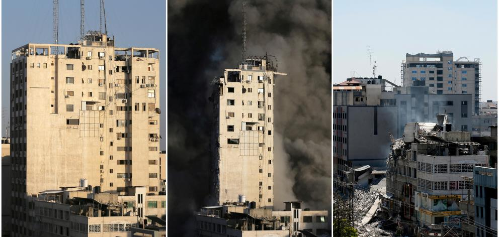 Combination picture shows a tower building before and after it was destroyed by Israeli air strikes in Gaza. Photo: Reuters