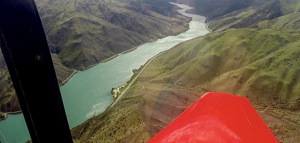 An aerial view of the  Lake Dunstan cycle trail along the (left side) of the Clutha Gorge. PHOTO:...