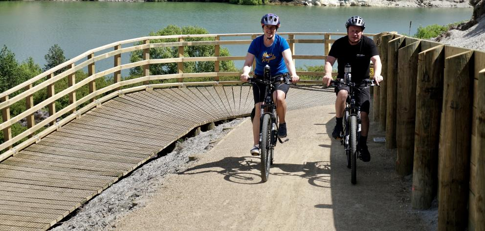 Pip Thomson and Dave Thomson riding on the Lake Dunstan cycle  trail. PHOTO: GRANT BRADLEY