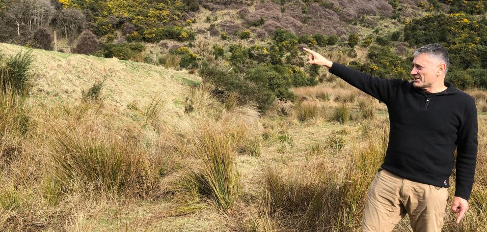 Otago University chair of earthquake science Professor Mark Stirling points out the 4m-high scarp...