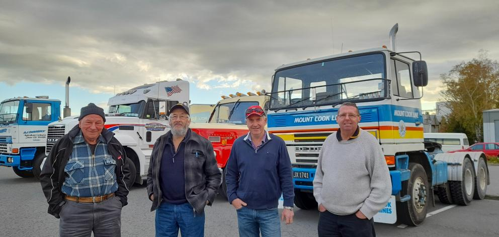 Parking up in Ashburton during a social classic truck run are (from left) David Diamond, of Pleasant Point, Peter Butterick, of Wakanui, John Stewart, of Rakaia, and Bruce Anderson, of Timaru. PHOTO TONI WILLIAMS