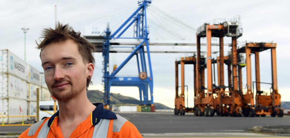 Doulton Tosh pictured outside Port Otago where he is two months into a two-year cadetship. PHOTO:...