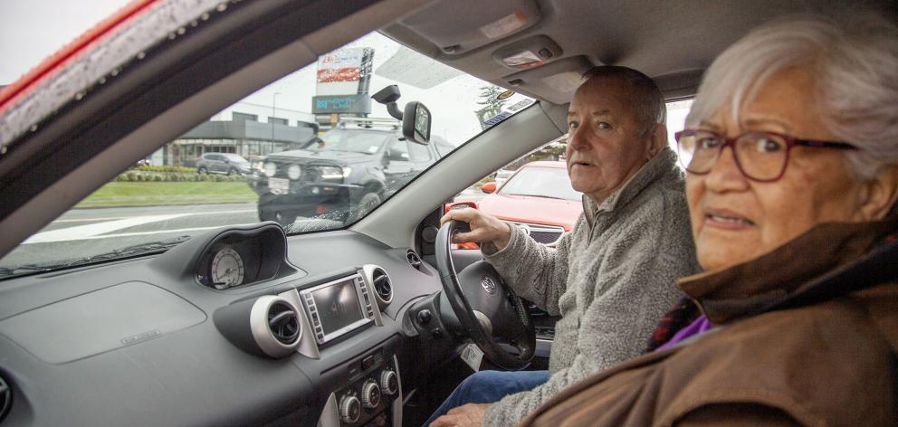 Langdons Rd resident Ian Wilkie drives his wife, Roz, to the nearby Northlink shopping centre....