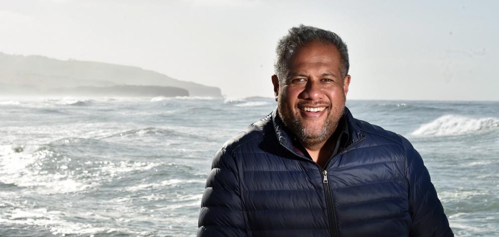 International opera singer Jonathan Lemalu  enjoys sea air at the St Clair Hot Salt Water Pool...