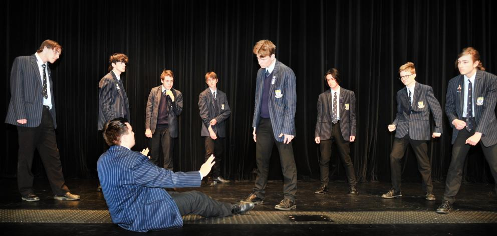 King's High School pupils Zed Ramsay (left) and Daniel Honey (both 16) act in a fight scene from...