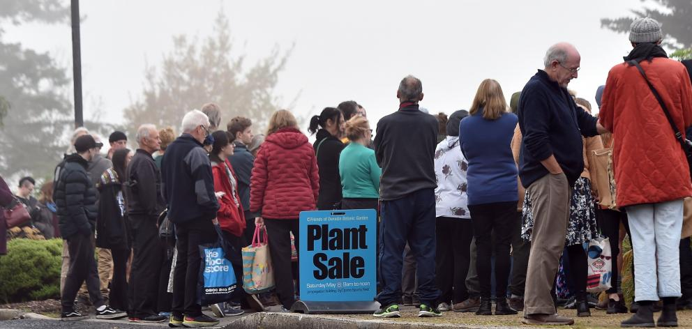 Dunedin gardeners wait eagerly to snap up some bargains at the 2021 Friends of the Dunedin...