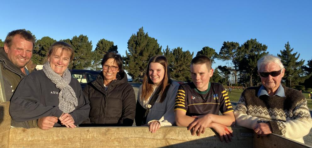 Farmers Wayne and Chelle Hagan have purchased an agri-spray company from cousin Murray and Rua Hagan. Pictured from left: Wayne, Chelle, Rua, Emilee (17), Josh (13) and Jim Hagan. PHOTO: ALICE SCOTT