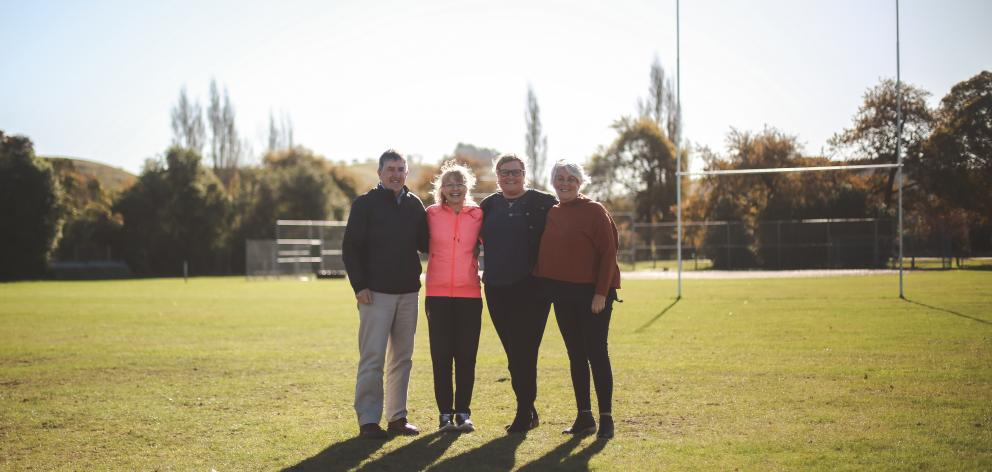 Friends of the Waitaki Event Centre (from left) Kevin Malcolm, Adair Craik, Deidre Senior and Denise McMillan gather at Centennial Park, their preferred location for a new sport and event centre. PHOTO: REBECCA RYAN