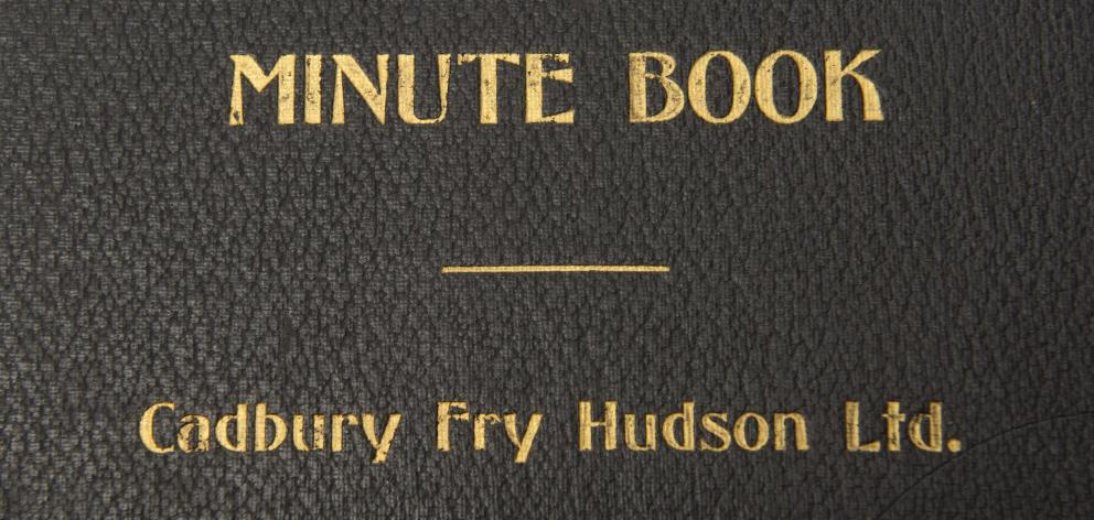 The cover of one of 16 books of company records discovered in the former Cadbury factory. Photo:...