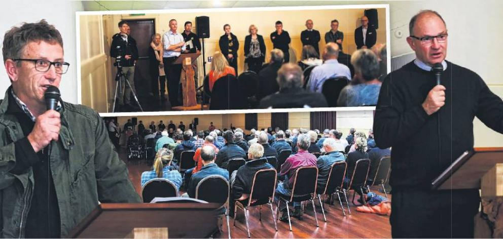 More than 150 people turned out to Mondaynight's meeting on carbon farming. Speakers includedForest Owners Association president Phil Taylor (left) and National Party forestry spokesman Ian McKelvie (right). PHOTOS: REBECCA RYAN