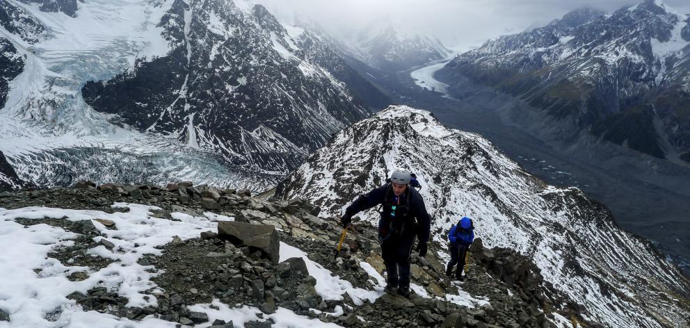 Ascending Ball Ridge. Photo: Supplied