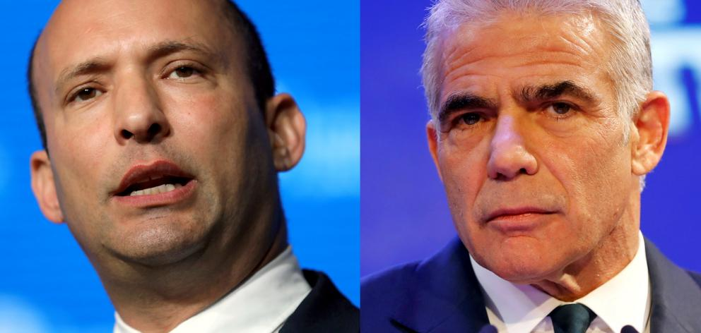 Naftali Bennett (left) and Yair Lapid plan to take the leadership in turns. Photos: Reuters