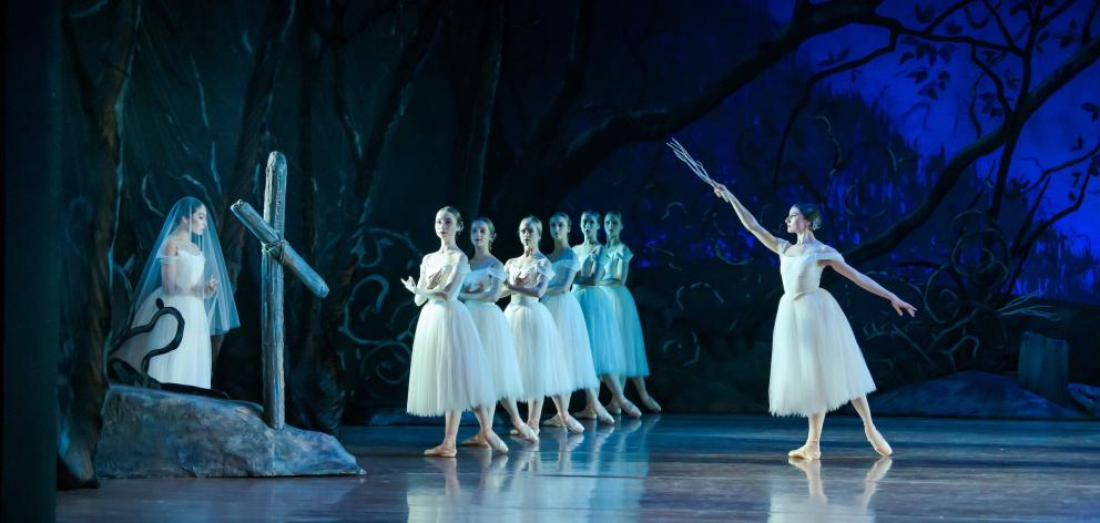 Mayu Tanigaito (left), as Giselle, and Sara Garbowski (right), as Myrtha, Queen of the Wilis,...