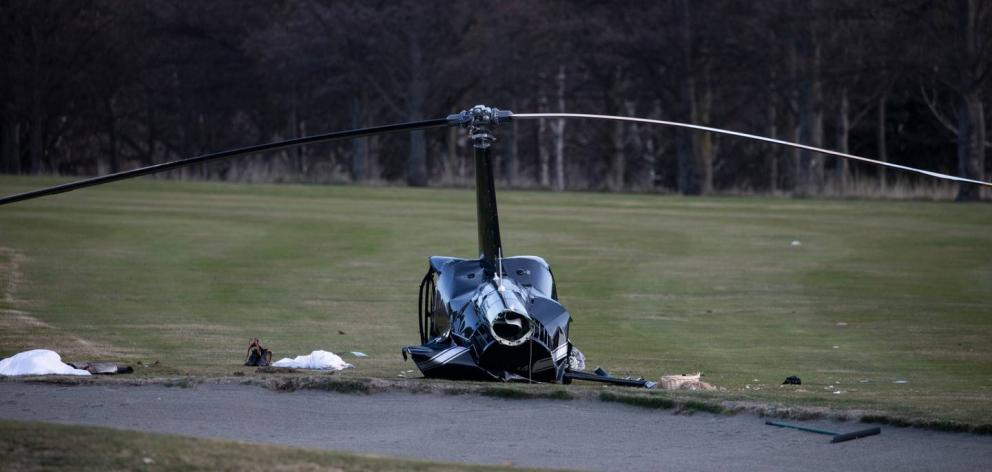 Four people including the newlywed couple were badly injured when the Robinson R44 II crashed...