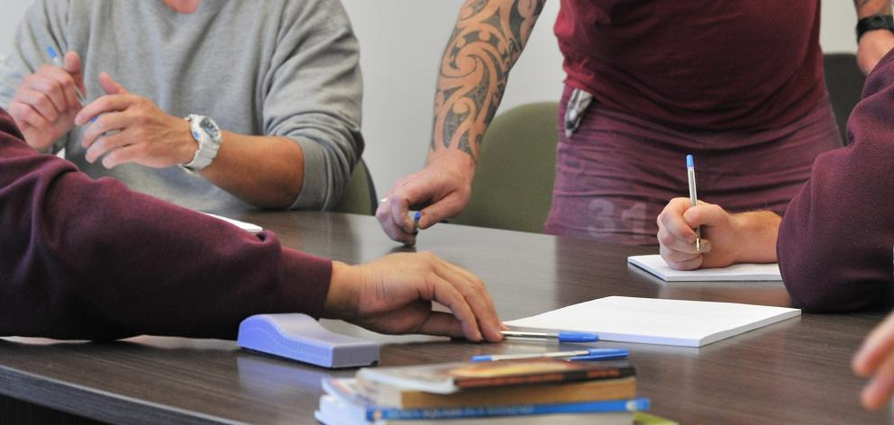 Otago Corrections Facility prisoners during the creative writing course. Photo: Christine O'Connor