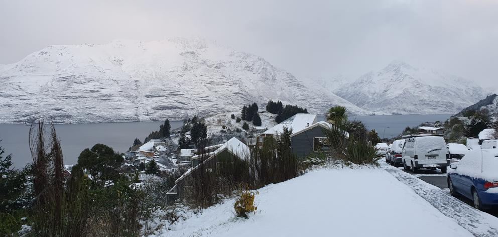 A view from Fernhill of Queenstown covered in snow this morning. Photo: Matthew Mckew
