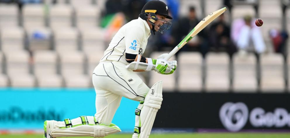 Black Cap Tom Latham hits runs during Day 3 of the ICC World Test Championship Final between India and New Zealand. Photo: Getty Images