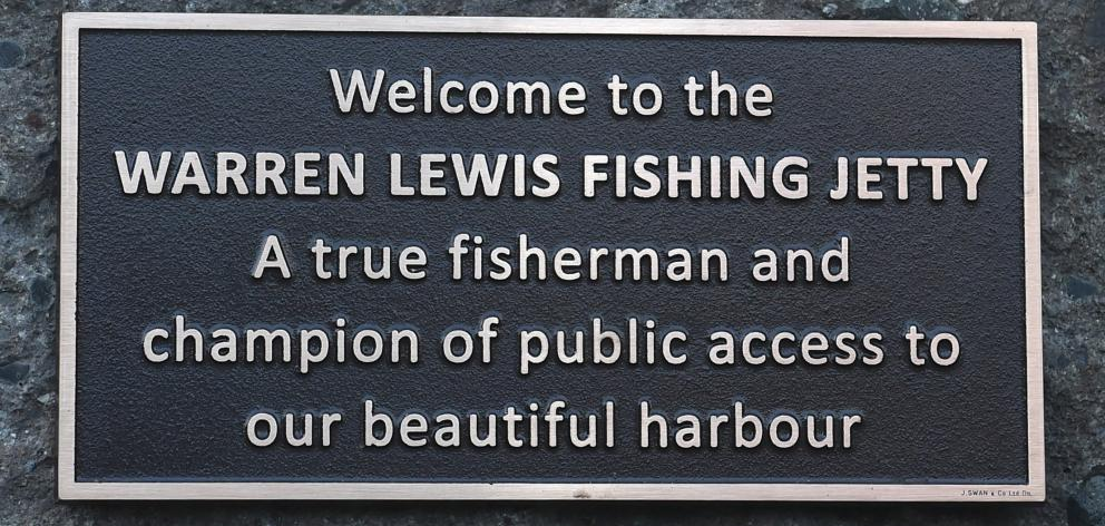 The plaque naming the jetty after him.