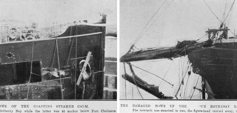 Damaged bows of coastal steamer Calm (left) and barque Rothesay Bay which collided while the...