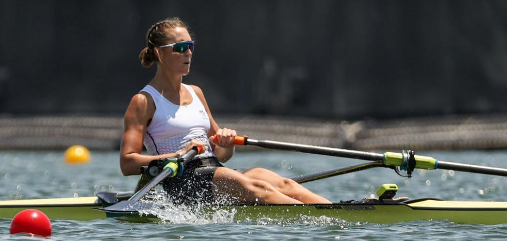 Emma Twigg competing during the Women's Single Sculls competition in Tokyo. Photo: Getty Images