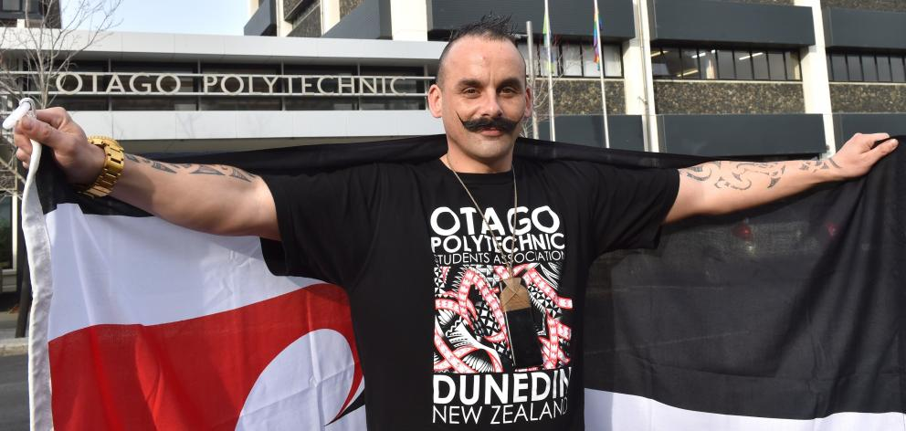 Otago Polytechnic Students' Association president Ezra Tamati says polytechnic students will face a simple ''yes or no'' vote on whether the tino rangatiratanga flag should fly at the Dunedin campus. PHOTO: GREGOR RICHARDSON