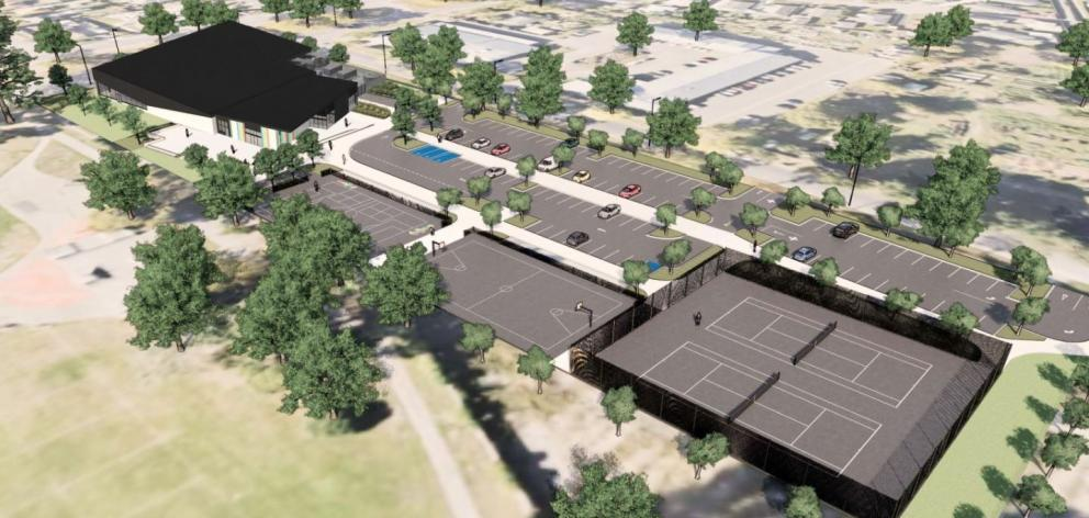 The complex will have picnic tables, tennis, basketball and multi-use courts, cycle stands,...