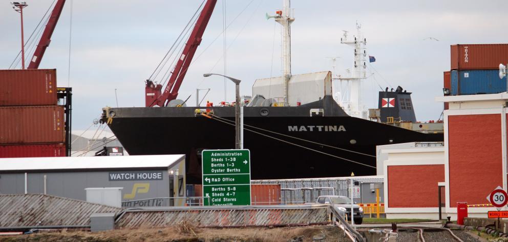 The Marshall Islands-flagged  Mattina, berthed in Bluff. PHOTO: KAREN PASCO