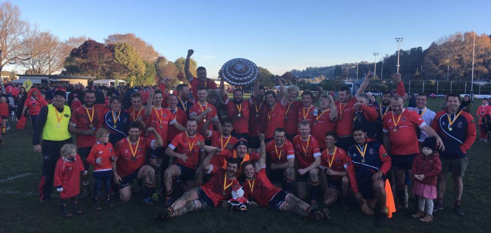 Kurow celebrate their Citizens Shield triumph. Photo: Rebecca Ryan