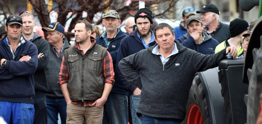 Groundswell supporters listen as Jock Allison addresses the crowd in Mosgiel. PHOTO: CHRISTINE O...