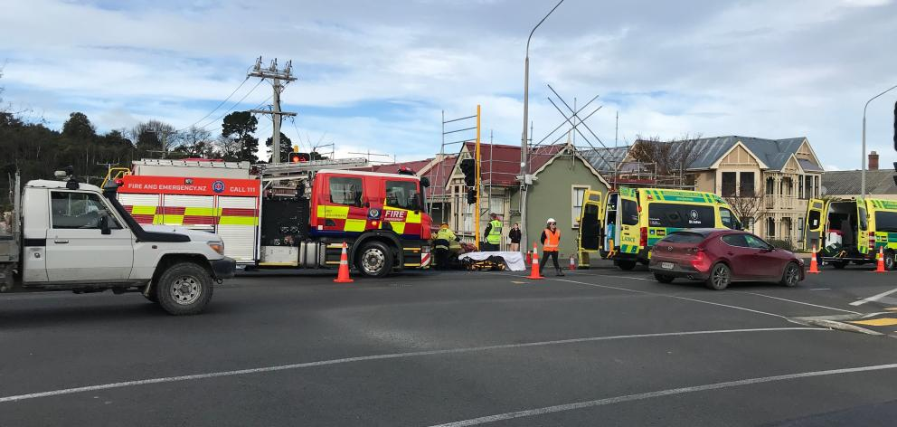 Emergency services at the scene of the crash at the intersection of Howe and Cumberland Sts. Photo: Gregor Richardson