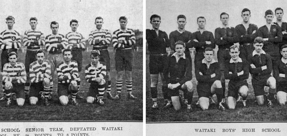 Otago Boys' High School senior rugby team (left) defeated Waitaki Boys' High School seniors by 28...