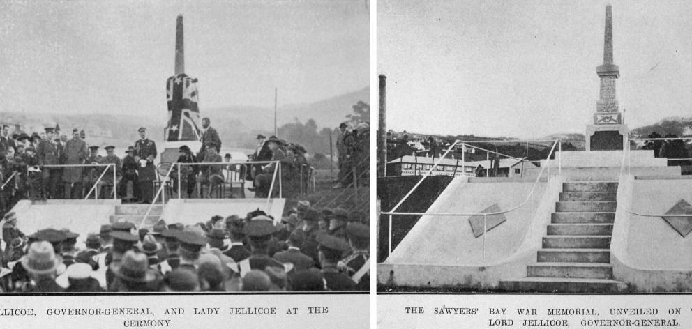 Lord Jellicoe and Lady Jellicoe at the ceremony to unveil the new Sawyers Bay war memorial on...