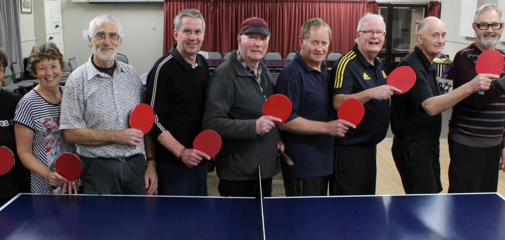At the ready with their paddles are Mosgiel Table Tennis members (from left) June King, Helen...