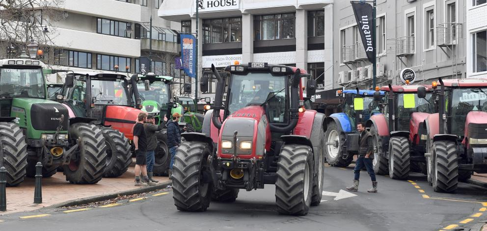 Traffic slowed to a crawl in Dunedin on Friday as tractors drove around the Octagon. PHOTO:...