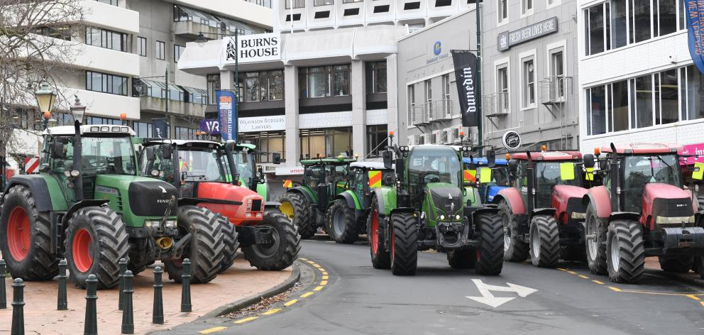 Tractors converge on the Octagon in Dunedin during last month's Howl of a Protest. PHOTO: STEPHEN...
