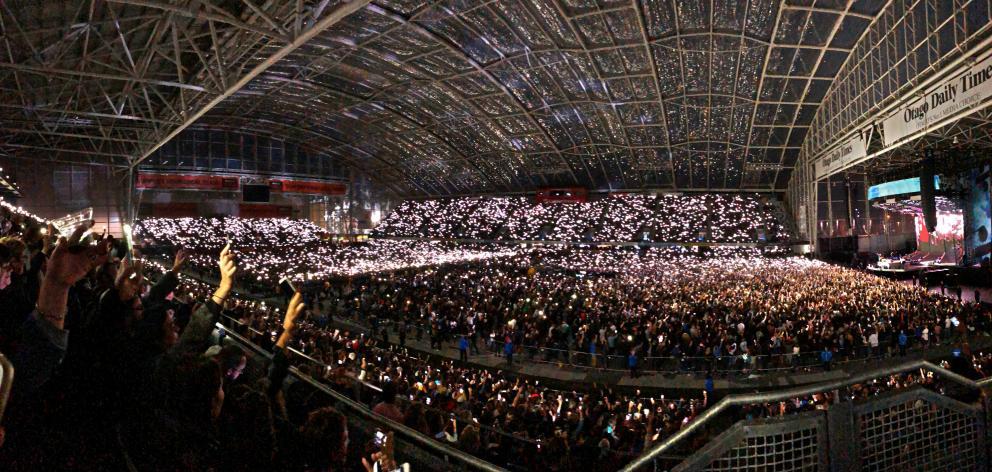 Thousands of Ed Sheeran fans lit up Forsyth Barr Stadium on Saturday night. Photo: Richard Houston