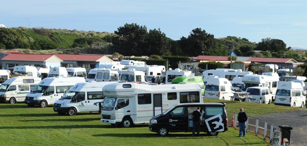 Campervans at a Holiday park in Dunedin. PHOTO PETER MCINTOSH