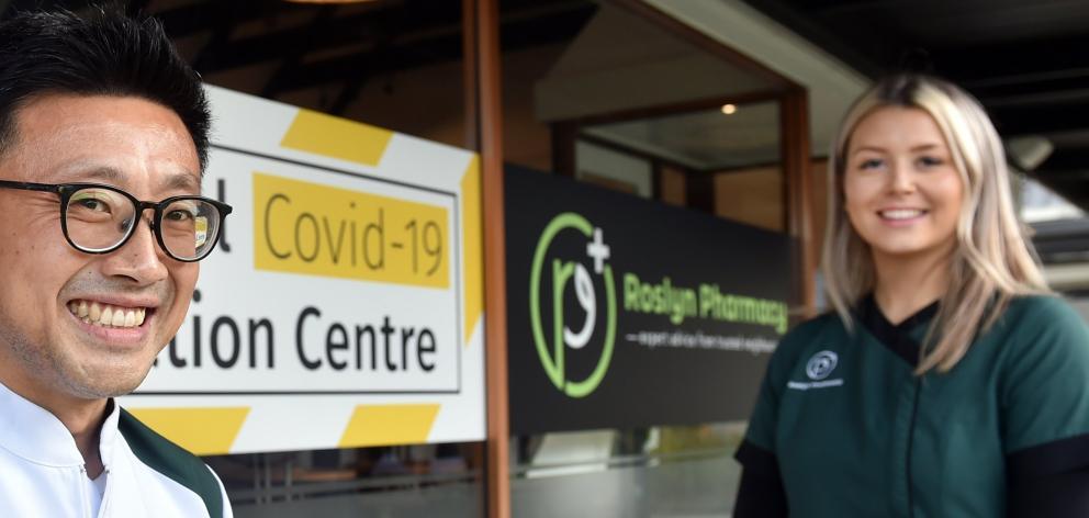 Andrew Hou, of Roslyn Pharmacy, in Dunedin, and immunisation co-ordinator Alex Svejkar on site...