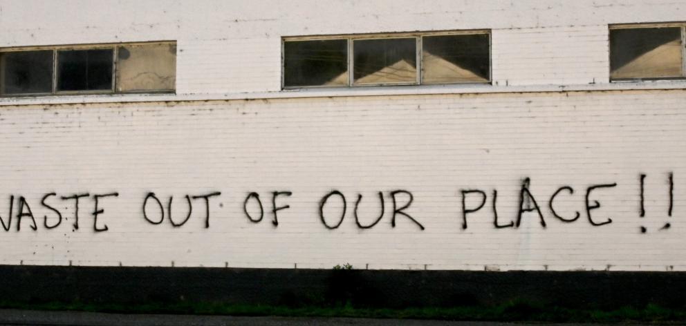 Graffiti on the Mataura paper mill. PHOTO: CRAIG BAXTER