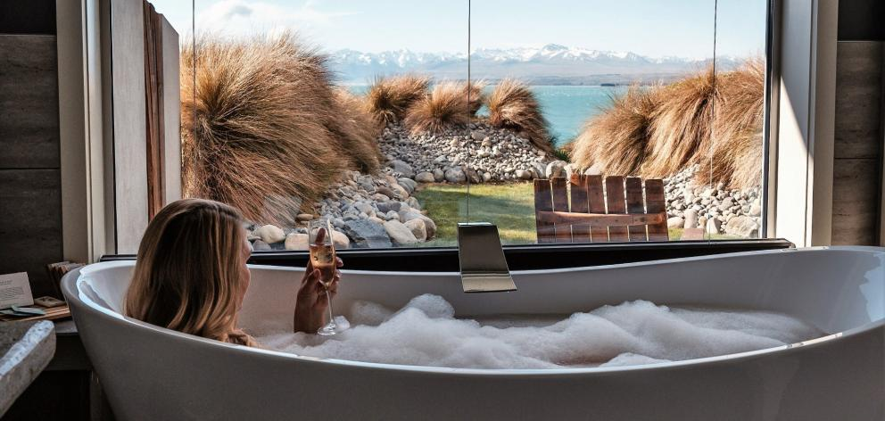 The view from the bath at Lakestone Lodge. PHOTO: JAMES MITCHELL