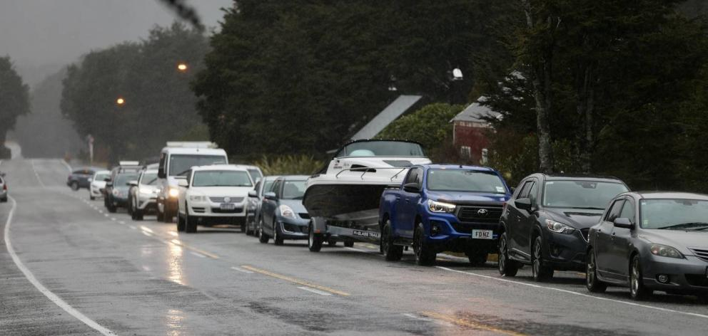 Traffic backs up on State Highway 73 near Arthur's Pass during the recent flooding. Photo: NZ Herald