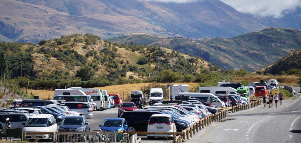 The Roys Peak track car park was at capacity before lunch in February, 2019. PHOTO: SEAN NUGENT