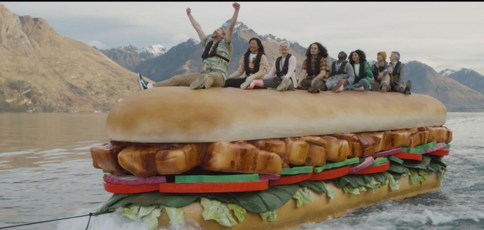 Riding a 9.5m-long ''SubBoat'' in Subway's new TV advertisement  are Queenstown residents (from...