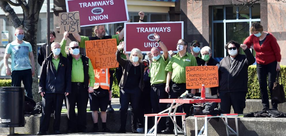 Bus drivers gathered at the Dunedin bus hub yesterday to protest against lack of progress in...